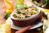 broccoli and salmon  gratin