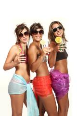Three sexy girls on white background