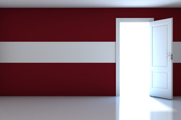 Latvia flag on empty room