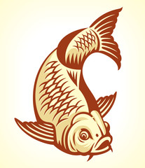 Carp Fish Cartoon. Vector illustration