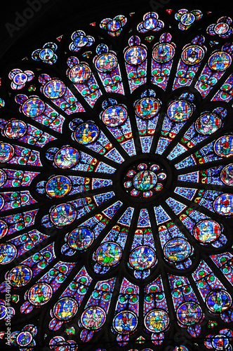 Deurstickers Stained vitraux de notre dame de Paris 1