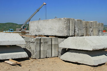 Reinforced concrete products on a building site