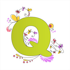 Colorful floral alphabet. Letter Q