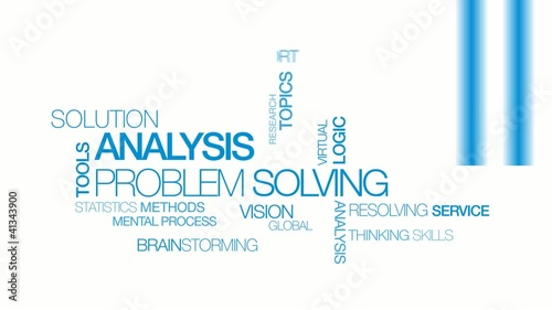 Solution Analysis problem solving blue tag cloud  video