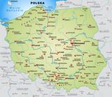 Landkarte von Polen mit Nachbarländern