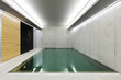 modern concrete house , indoor pool with sauna