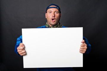 Worker on strike with sign