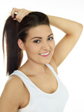Beautiful girl with ponytail hairstyle on white background poster