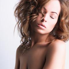 young woman with long healthy hair, beautiful eyes, sensual lips