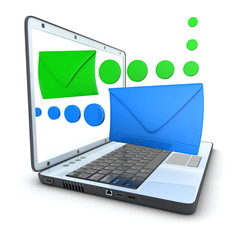 laptop e-mail blue and green
