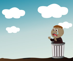 Vector - orphan.The boy in the bin that he's the orphan.