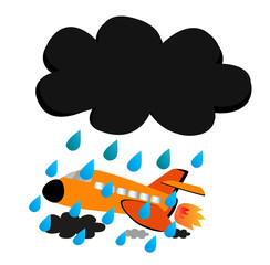 Vector - Airplane in the raincloud.
