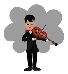 Vector - Musician playing violin.