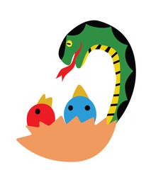Vector - Snake.Snake is eating chicks.