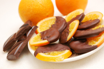 delicious slices of orange coated chocolate