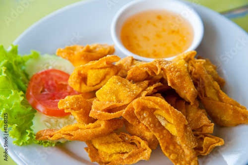 Deep Fried Wonton on white dish with plum sauce