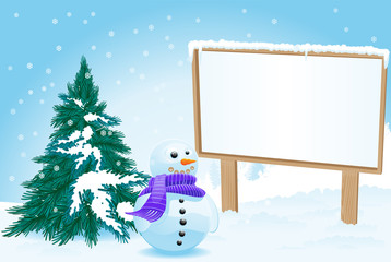 Billboard with snowman for christmas