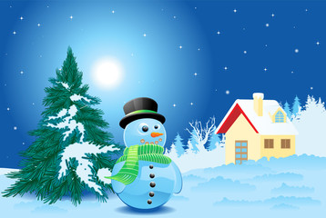 Landscape with snowman and little house