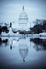 Capitol Building  and mirror reflection in blue tone