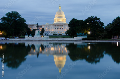 Capitol building with pool reflection at night,  Washington DC