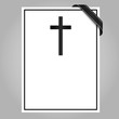blank mourning card with cross and ribbon