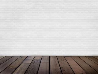 Raum mit weißer Ziegelwand und Holzfußboden