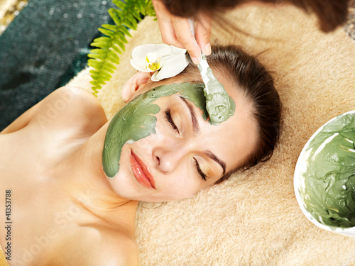 Woman having clay facial mask apply by beautician.