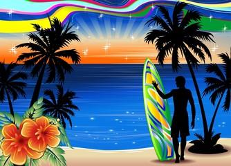 Surfista su Spiaggia Esotica-Surfer on Tropical Beach-Vector