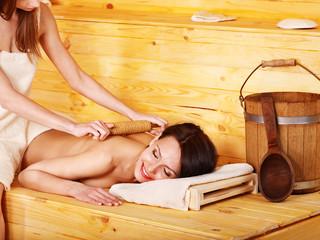 Girl into sauna.