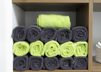 wellness towels in a shelf