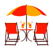 beach umbrella and deck chairs