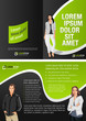 Black and green template for advertising with business people