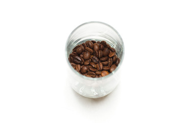 Glass with cofee beans