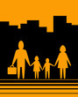 yellow urban background with happy large family