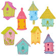 Colorful Bird Houses - hand drawn in vector - for design and scr