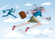 Business Woman Running Through Clouds