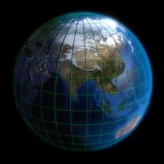 Earth Globe Asia-  Latitude and Longitude