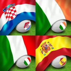 euro 2012 group c soccer ball and flag