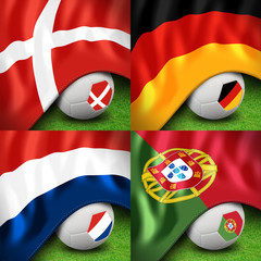 euro 2012 group b soccer ball and flag
