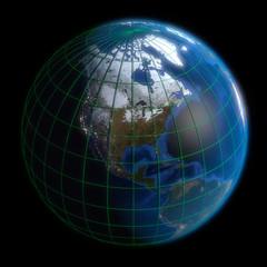 Earth Globe North America-  Latitude and Longitude