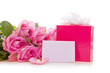 Pink rose bouguet on white,giftbox