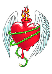 Winged heart with thorns