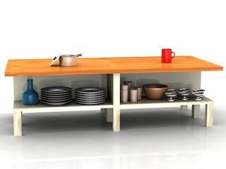 Küchentisch mit Geschirr
