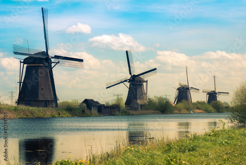 retro postcard with dutch windmills