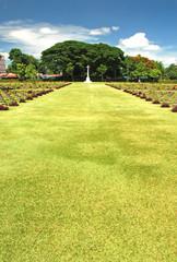 World War II memorial cemetery in Kanchanaburi Thailand