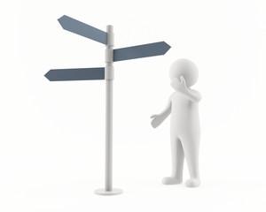 3D man looking at a signpost