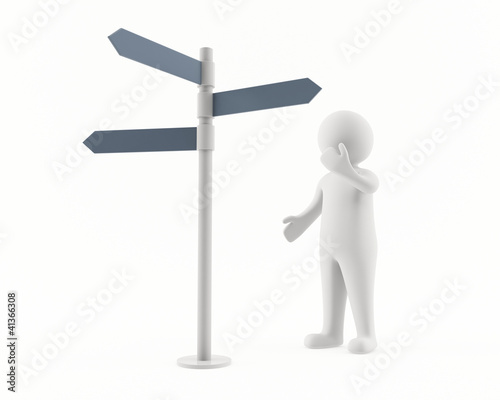 3D man looking at a signpost