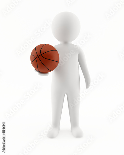3D man holding a basketball in his hand