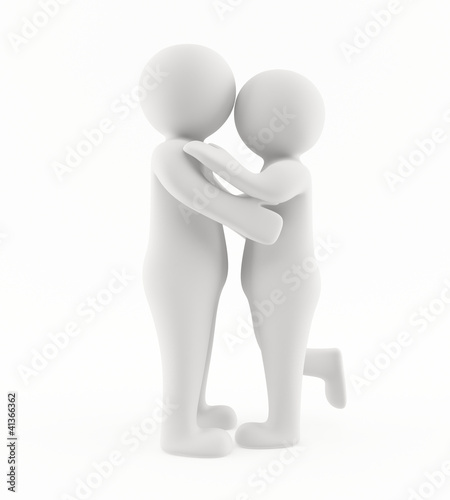 3D couple kissing and hugging