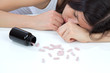 Woman stress depression on drug pills medicine tablets